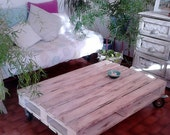 Table Wooden white coffee table of pallet