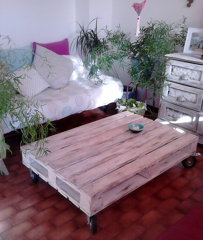 Table basse blanche en bois peinte - Table basse peinte ...