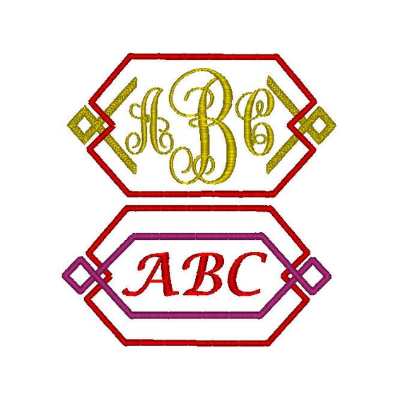 Machine embroidery design modern monogram frames to
