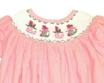 Smocked Pink Corduroy Christmas Stockings Long Bubble