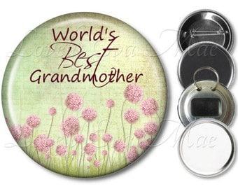 Grandmother Pocket Mirror, Fridge Magnet, Bottle Opener Grandma Keychain, Pin Back, Makeup Mirror, Pink & Green Floral, Grandmother Gift