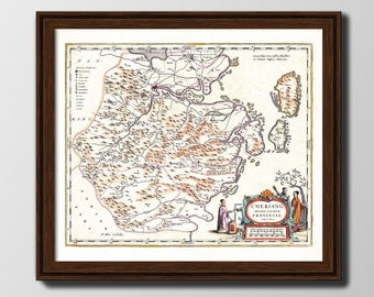 Old map of Chekiang region by Blaeu.- Vintage map for sale