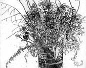 Georgia Swamp Flowers - Original Etching & Engraving, - Hand-printed, Wildflowers, Black and White Art, Botanical Art, Cottage Art, Country+