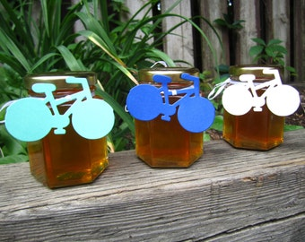 Honey Wedding Favors, Engagement Favors (Large 3.75 ounce, Case of 48) Wedding Favours, Raw Honey, Edible, Reception, Thank You, Bike Tag