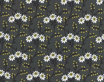 1 yard Michael Miller Citron Gray Wallflower Waltz designer cotton fabric by the yard MM009