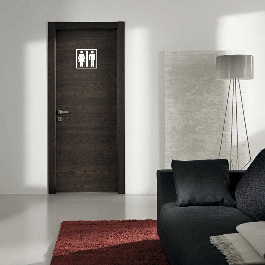 Bathroom door decal man woman decal bathroom vinyl for Man door design