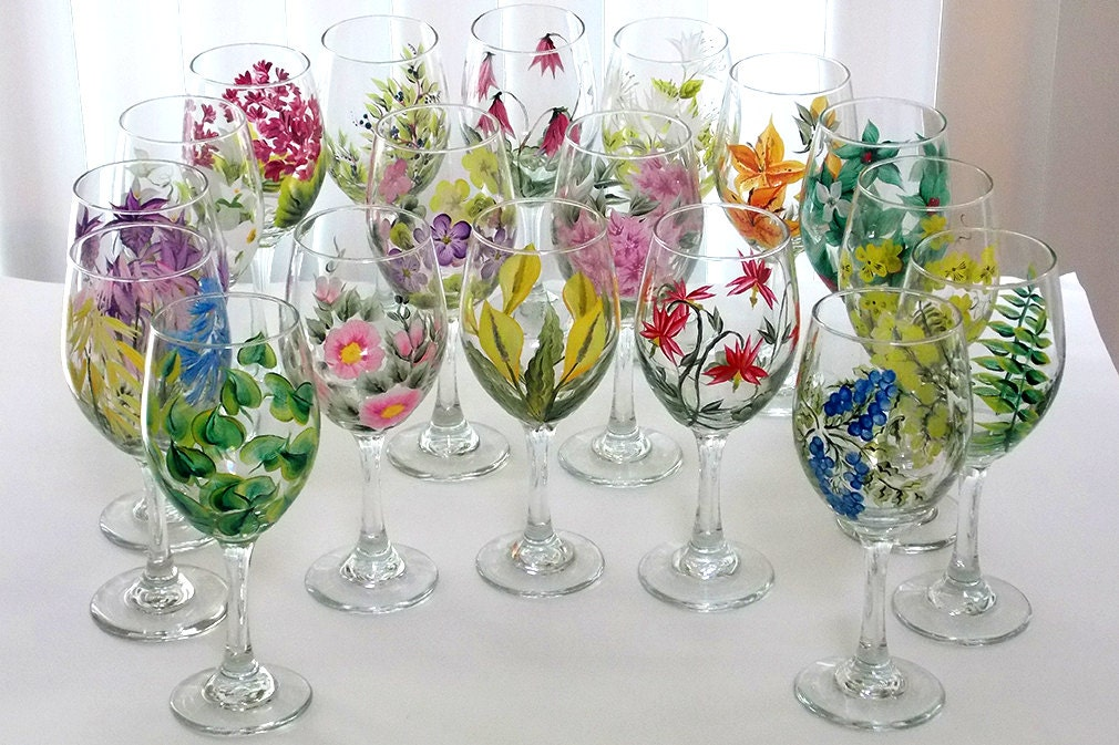set of 18 hand painted wine glasses wild flowers pacific