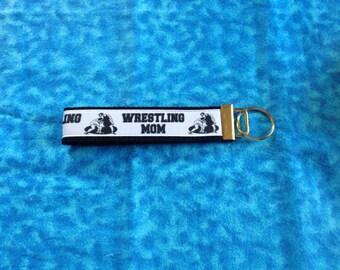Wrestling Mom wristlet key fob holder keychain