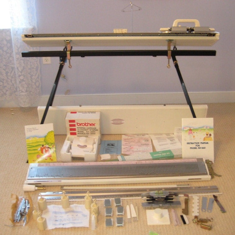 Items similar to Rare Brother Bulky Knitting Machine w/ Ribber, Stand, Intars...