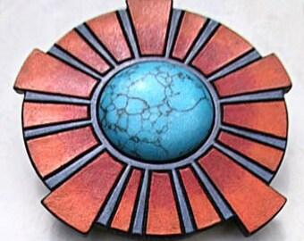 Soul Sun~ carved leather belt buckle with turquoise gemstone