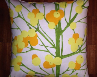 "Yellow orange Lumimarja pillow case from Finnish Marimekko designer cotton fabric, 20"", 50cm, Finland"