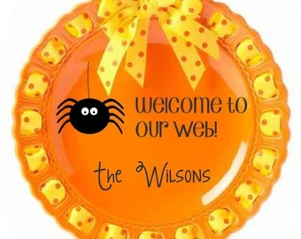 Personalized Holiday Plate ~ Prissy Plate ~ Monogram ~ Halloween Spider Plate Home Decor Kitchen Decor Orange and Yellow Halloween Holiday