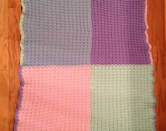 Beautiful 4 Square baby blanket. Perfect gift for new baby