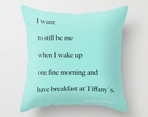 Breakfast at Tiffany's Pillow -  Breakfast at Tiffany's Decor - Velveteen Pillow Cover - Decorative Pillows - Gift for Bestfriend - Aqua