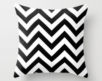 Black and White Chevron Pillow - Chevron Pillow Cover - Black and White Pillow Cover - Velveteen Pillow -  Teen Pillow - Girls Pillow - Dorm