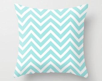 Decorative Pillows - Velveteen Pillow Cover - Turquoise Chevron - Aqua - Throw Pillow Cover - Girls Decor - Teen Pillows - Chevron Pillow