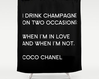 Fashion Icon Quote Shower Curtain, Paris Bathroom Decor, Fabric Shower Curtain, Black and White Paris Decor, Gifts for Women, Gifts for Her