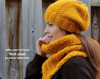 Knit cowl, soft wool cowl, tube scarf, mustard yellow knitted cowl, 100% soft new wool, handknit snood, ribbed cowl, soft and cozy
