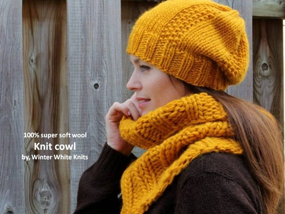 ... cowl, 100% soft new wool, handknit snood, ribbed cowl, soft and cozy