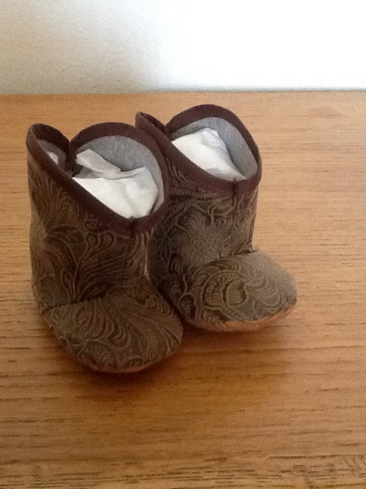 Infant Baby Leather Look Cowboy Boots