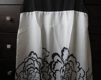 Chiffon Floral  Dress Black & White Color
