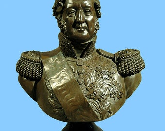King Louie of France dated 1829 Bronze Bust by Jacques A Dieudonne was 14,500.00  lowered TO 6500.00 for our New Years Sale