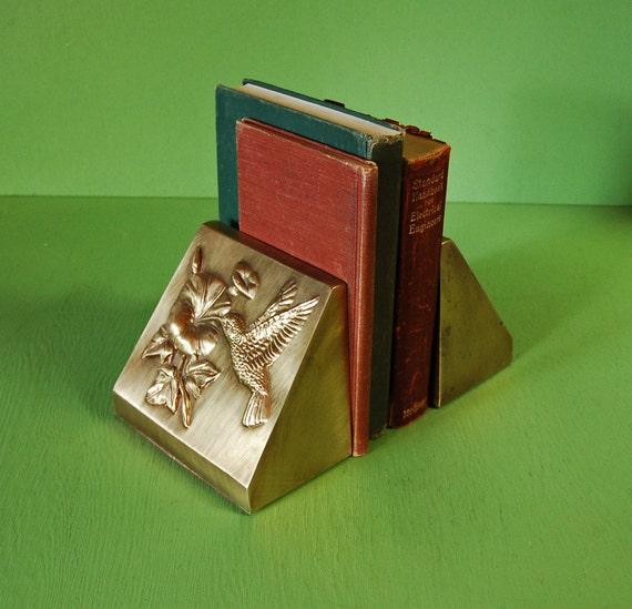 Vintage brass bookends antique brass hummingbird bookends - Antique brass bookends ...