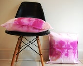 Radiant orchid purple pink dip dyed watercolour square cushion cover pillow - NobleAndIron