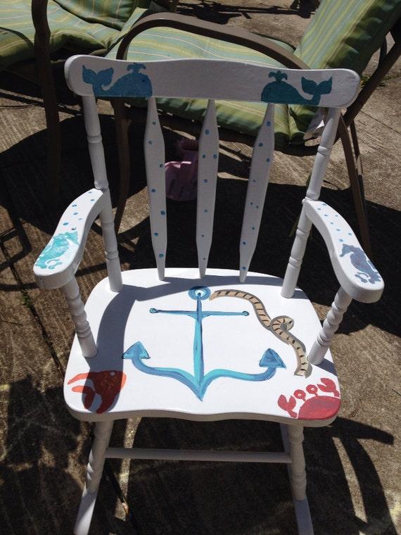 Childrens Rocking Chair Nautical Theme Hand By Kayteskrafts