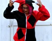 Harley Quinn  costume Cosplay fleece hoodie Halloween w Zipper