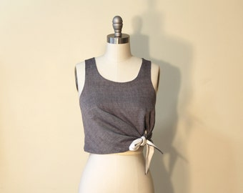Reversable Knot Tank;Cute Top Sewing Pattern; Tank top; Cotton, Linen,Silk, KnotTop by ULOOOP