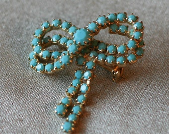 Beautiful turquoise rhinestone ribbon brooch