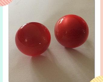 Red Sterlite Screwback Earrings