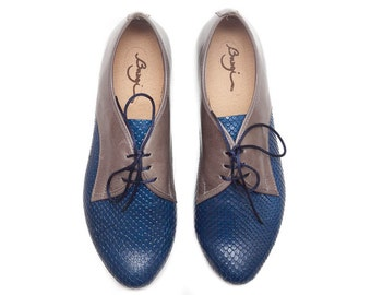 Blue Leather Shoes, Blue Oxford Shoes, Close Shoes, Flat Shoes, Blue and Grey Shoes , Free Shipping