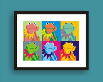 Kermit  Pop Art Original Print by C Wiedenheft comes with a white mat and ready to frame.
