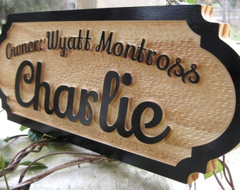 Horse Stall Sign Personalized Wood Carved Name Plate Unique