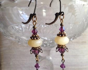 Vintage-inspired dangle earrings, antique brass filigree, aragonite beads, amethyst Swarovski crystals, purple, cream
