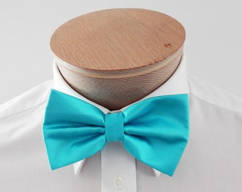 Mens Bowtie Teal Blue Solid Banded Adjustable Neck Pre Tied BowTies