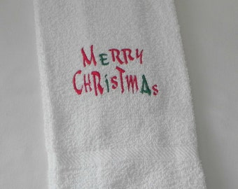 White Hand Towel with Machine Embroidery Christmas Tree