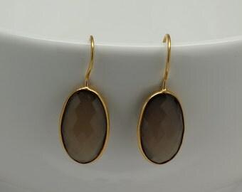 Natural Chalcedony Bezel Earrings, Gemstone Earrings, Bezel Set Earrings, Drop Gemstone Earrings, Dangle Earrings