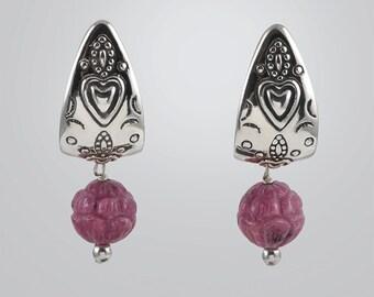 Carolyn Pollack Drop Dangle Carved Rhodonite Half Hoop Earrings