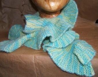 Hand knit, alpaca scarfette
