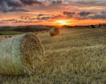 Sunset with Hay Bales - Sunset - Landscape - sunset photography, summer harvest, bales of straw,