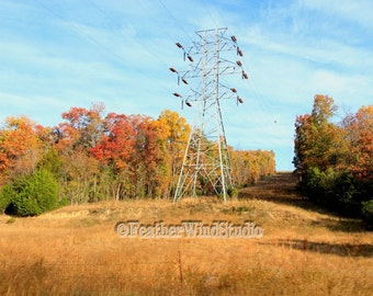 Electric Landscape Photography | Power Lines | High Tension Wires | Autumn | Scenic Hills | Fall Color | Arkansas Scenery Art | Color Print