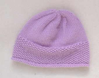 SEED HAT Rose hand knitted  baby toddler hat beanie merino wool with decorative seed stitch band