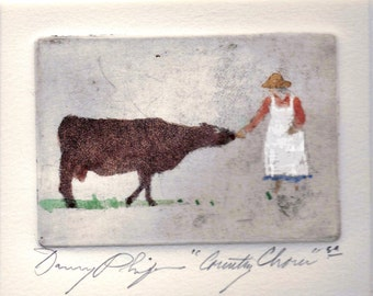 "Etching  ""Country Chores"""