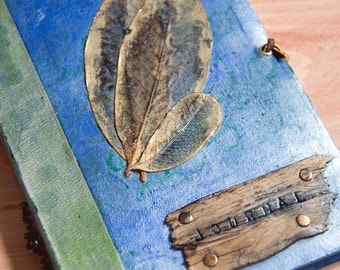 Handmade Journal Turkish Blue and Green Marbleized Paper with Magnolia Leaf Skeletons and Cedar Accents