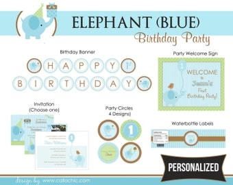 Elephant 1st Birthday Party Package PRINTABLE for Boys (Blue Green) - Personalized