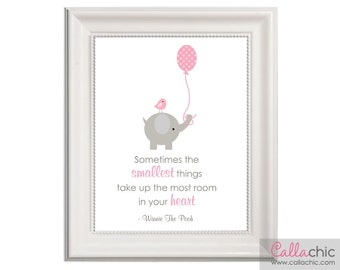 Sometimes The Smallest Things Nursery Wall Art PRINTABLE Winnie The Pooh Quote Baby Girl Pink - Elephant Bird Balloon(INSTANT DOWNLOAD) diy