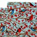 Large Cloth Placemats - Set of 2 - Red Turquoise Birds -  Reversible